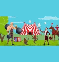 funfair circus show and tent performers vector image