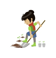 Girl Digging The Ground vector