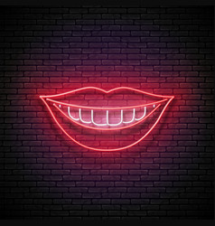 glow beautiful smile with white teeth and red lips vector image