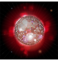 glowing disco ball with lens flares vector image