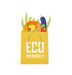 go green paper eco food bag vector image