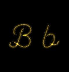 Gold glitter letter b star sparkle trail font vector