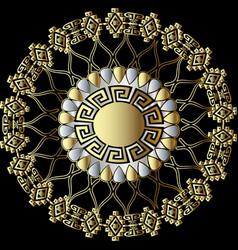 greek floral 3d round mandala pattern vector image