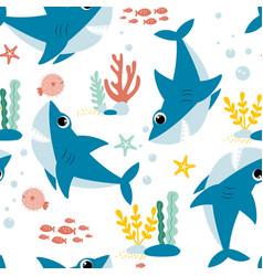 hand drawing shark print design vector image