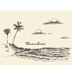 hand drawn vacation poster seaside beach sketch vector image