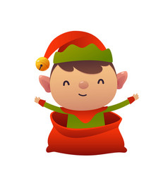 happy new year cartoon card christmas elf in vector image