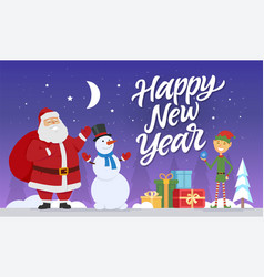 happy new year - modern cartoon characters vector image