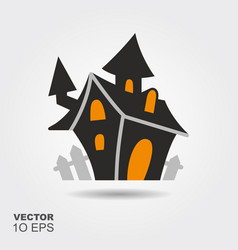 haunted house flat silhouette icon with shadow vector image