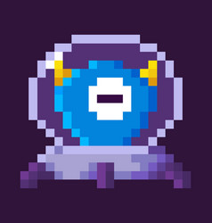 horned monster in spaceship space pixel game vector image