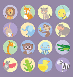 Icons animals kids vector