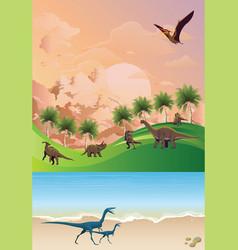Jurassic dinosaur landscape at dawn vector