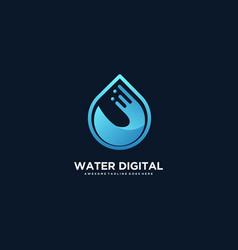 Logo water digital gradient colorful style vector