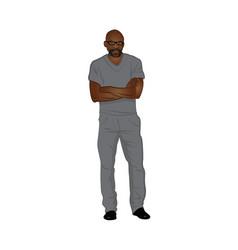 Male black medical technician wearing gray scrubs vector