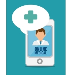 Medical online smartphone doctor cross vector