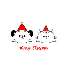 merry christmas cat dog face icon red santa claus vector image