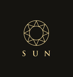 minimalist ethnic lineart sun logo icon template vector image