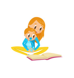 mom reading a book to her baby family early vector image
