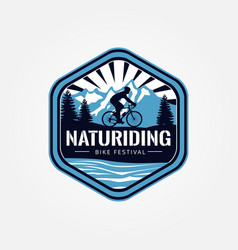 nature riding bike festival logo vector image