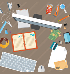 Office desk flat mock up template with flat vector