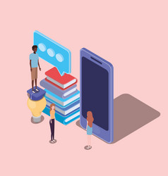 Online education with smartphone and mini people vector