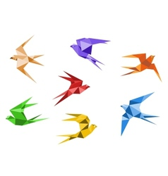 Origami swallows vector