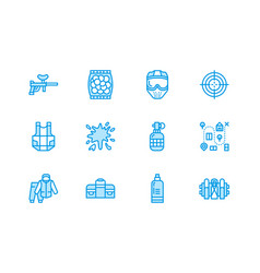 Paintball game flat line icons outdoor vector