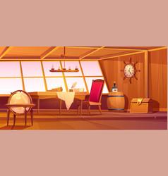 Pirate captain ship cabin interior vector