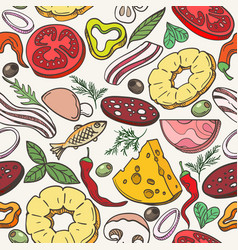 pizza ingredients pattern vector image