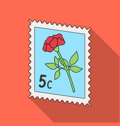 postage stampmail and postman single icon in flat vector image