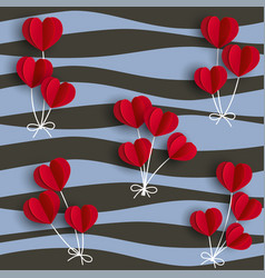 red hearts shape balloons on wavy background vector image