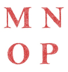 Red sketch font set - letters M N O P vector