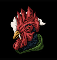 Rooster smoking vector