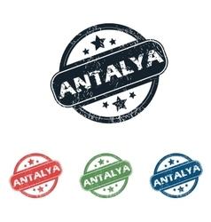 Round antalya city stamp set vector