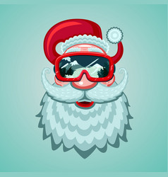 santa claus head with snowboard mask winter sport vector image