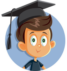 School boy with graduation hat vector