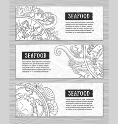 seafood banner set collection of horizontal vector image