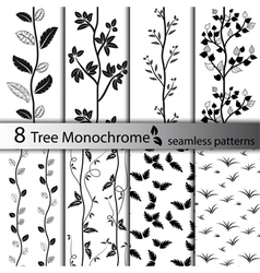 set black and white tree seamless patterns vector image
