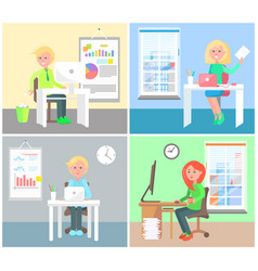 set of office workers colorful vector image