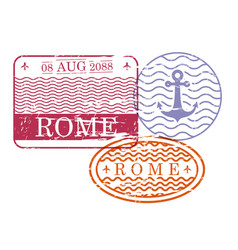 ship travel stamps of rome in colorful silhouette vector image