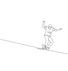single continuous line drawing young cool vector image