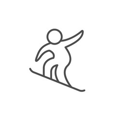 snowboarding sport line outline icon vector image