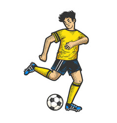 Soccer player with ball sketch engraving vector