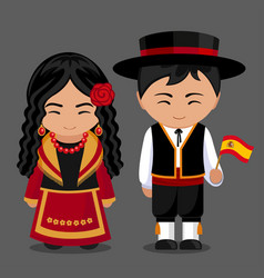 Spanish in national dress with a flag vector