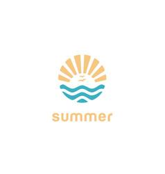 summer beach island summer sun rays logo vector image