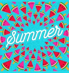 summer greeting card of watermelon ice cream vector image