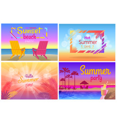 Sunset beach party hello summer time posters set vector