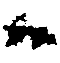 tajikistan - solid black silhouette map of country vector image