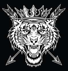 Tiger angry face head king vector