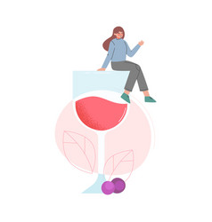 tiny young woman sitting on huge glass red wine vector image