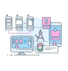 UX UI design flat vector